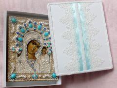 Рукописная Казанская икона с жемчугом и натуральными камнями (Размер 17.5*21 см)