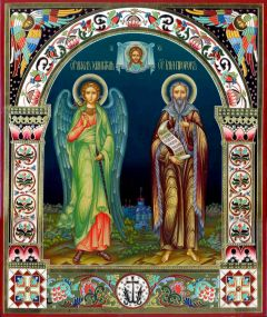 Рукописная икона Ангел Хранитель и Илия Пророк