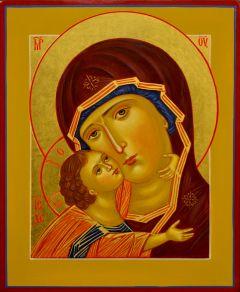 Рукописная икона Владимирская оплечная под старину (Размер 17.5*21 см)