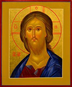 Рукописная икона Спас Вседержитель оплечный 65 (Размер 17*21 см)
