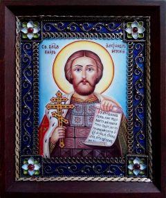 Икона из финифти Александр Невский 42 (Размер 10*12 см)