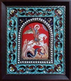 Икона из финифти Чудо Георгия о змии 2