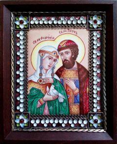 Икона из финифти Петр и Феврония 105 (Размер 10*12 см)