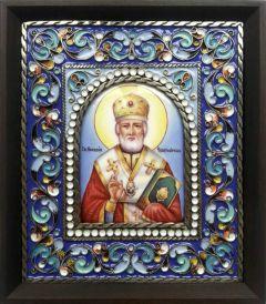 Икона из финифти Николай Чудотворец 93 (Размер 14*16 см)