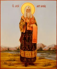 Рукописная икона Алексий митрополит Московский масло