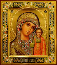 Рукописная Казанская икона с резьбой 62 (Размер 27*31 см)