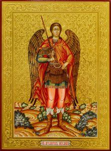 Рукописная икона Архангел Михаил с резьбой 29 (Размер 22*30 см)