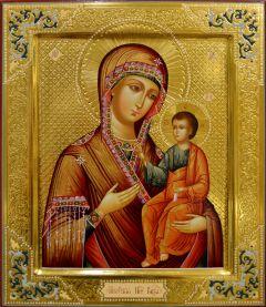 Рукописная икона Иверская с резьбой 16 (Размер 27*31 см)