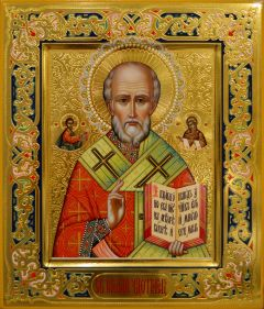Рукописная икона Николай Чудотворец с резьбой 96 (Размер 27*31 см)