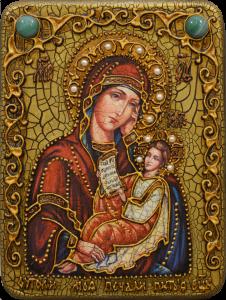 Икона ручной работы Утоли моя печали с камнями 3 (Размер 15*20 см)
