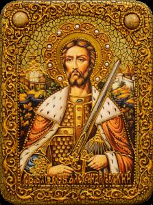 Икона ручной работы Александр Невский с камнями 2 (Размер 15*20 см)