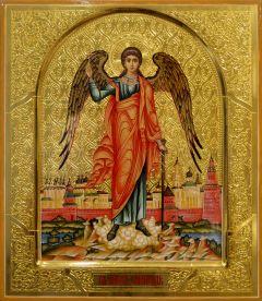 Рукописная икона Ангел Хранитель с Москвой (Размер 27*31 см)