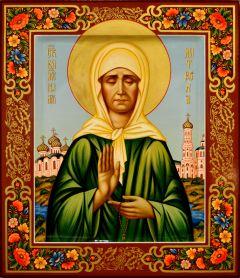 Рукописная икона Матрона Московская с узорами 22 (Размер 27*31 см)