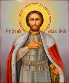 Рукописная икона Александр Невский масло 44