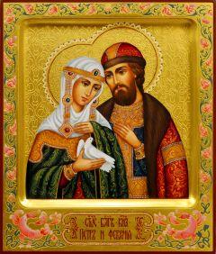 Рукописная икона Петр и Феврония с резьбой 107 (Размер 17*20 см)
