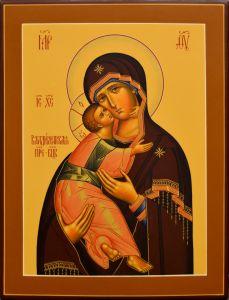 Рукописная икона Владимирская на старинной доске 28 (Размер 25*31 см)