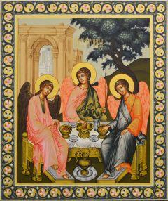 Рукописная икона Святая Троица с узором 34 (Размер 26*31 см)