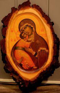 Рукописная Владимирская икона на березовом срезе (Размер 26*41 см)