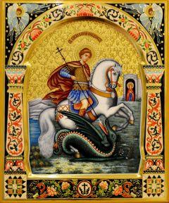 Рукописная икона Георгий Победоносец с резьбой 36 (Размер 27*31 см)