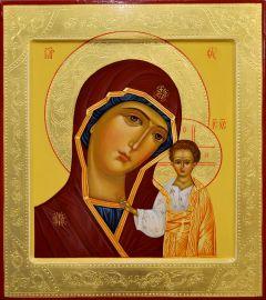 Рукописная икона Казанская с резьбой 59 (Размер 27*31 см)