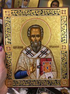 Рукописная икона Александр Иерусалимский