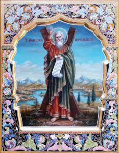 Рукописная икона Андрей Первозванный с резьбой 21