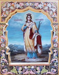 Рукописная икона Екатерина великомученица с резьбой 11