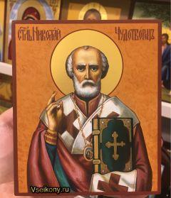 Рукописная икона Николай Чудотворец 100