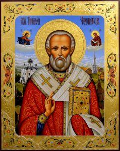 Рукописная икона Николай Чудотворец 85 (Размер 40*50 см)
