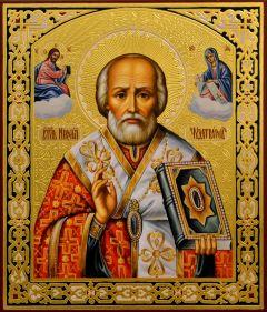 Рукописная икона Николай Чудотворец 102 (Размер 21*25 см)