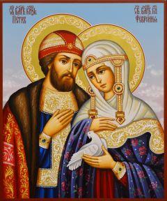 Рукописная икона Петр и Феврония 110 (Размер 17*21 см)