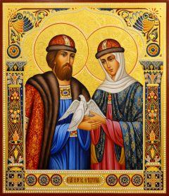 Рукописная икона Петр и Феврония с резьбой 112 (Размер 27*31 см)