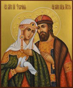 Рукописная икона Петр и Феврония с жемчугом 114