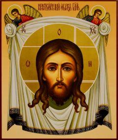 Рукописная икона Спас Нерукотворный с Ангелами 58 (Размер 17.5*21 см)
