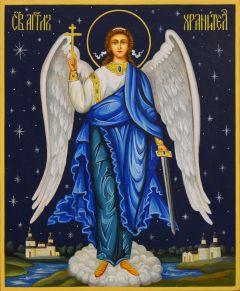 Рукописная икона Ангел Хранитель со звездами 119 (Размер 17*21 см)