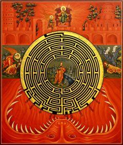 Рукописная икона Духовный Лабиринт 5 (Размер 30*35 см)