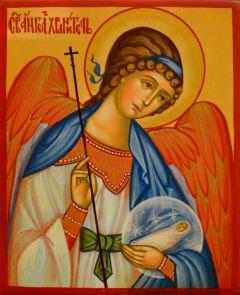 Рукописная икона Ангел Хранитель с Душой 121 (Размер 10*12 см)