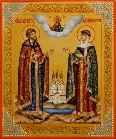 Рукописная икона Петр и Феврония с резьбой 117 (Размер 18*22 см)