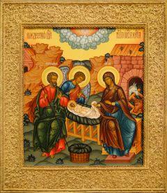 Рукописная икона Рождество Христово с басмой (Размер 28*32 см)