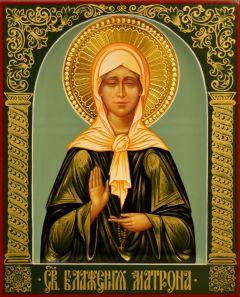 Рукописная икона Матрона Московская 24 (Размер 17*21 см)