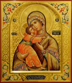 Рукописная икона Владимирская с резьбой 29 (Размер 27*31 см)