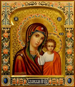 Рукописная Казанская икона с резьбой модерн 65 (Размер 27*31 см)
