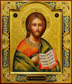 Рукописная икона Спас Вседержитель с резьбой 75 (Размер 27*31 см)