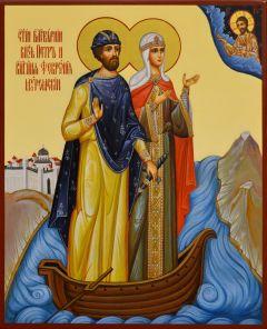 Рукописная икона Петр и Феврония в ладье 119 (Размер 17*21 см)