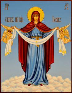 Рукописная икона Покров Пресвятой Богородицы 20