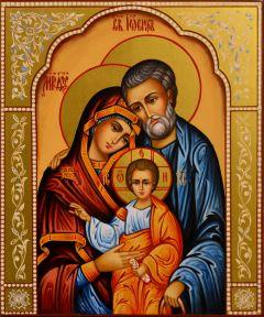 Рукописная икона Святое Семейство 10 (Размер 17*21 см)