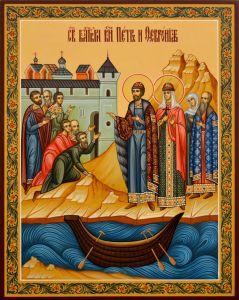 Рукописная икона Петр и Феврония 122 (Размер 20*25 см)