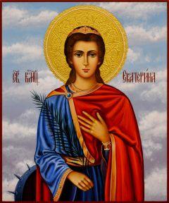Рукописная икона Екатерина 15 (Размер 17*21 см)