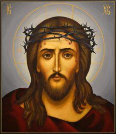 Рукописная икона Спас в терновом венце живопись (Размер 27*31 см)