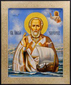 Рукописная икона Николай Чудотворец с ладьей 107 (Размер 21*25 см)